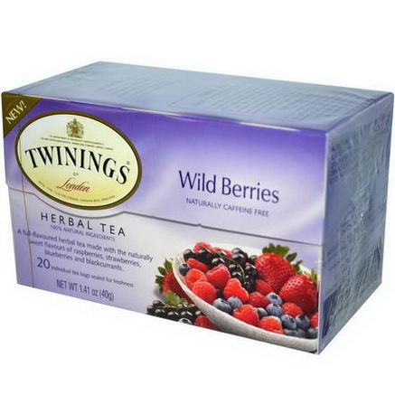 Twinings, Herbal Tea, Wild Berries, Caffeine Free, 20 Tea Bags, 1.41oz (40g)