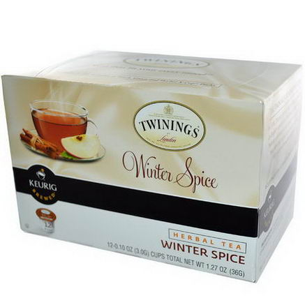 Twinings, Herbal Tea, Winter Spice, Caffeine Free, 12 K-Cups, 0.10oz (3g) Each