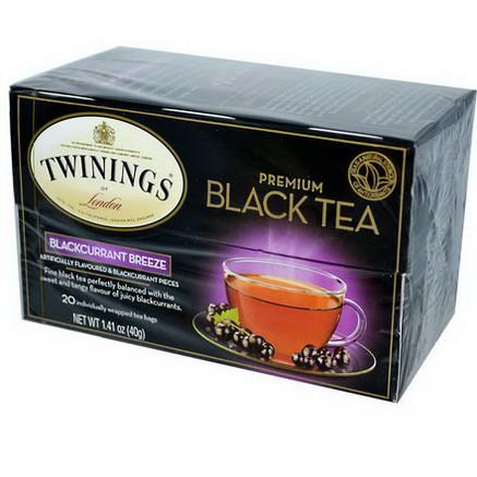 Twinings, Premium Black Tea, Blackcurrant Breeze, 20 Tea Bags, 1.41oz (40g)