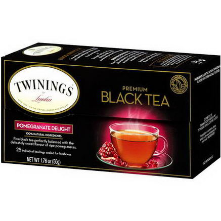 Twinings, Premium Black Tea, Pomegranate Delight, 25 Tea Bags, 1.76oz (50g)