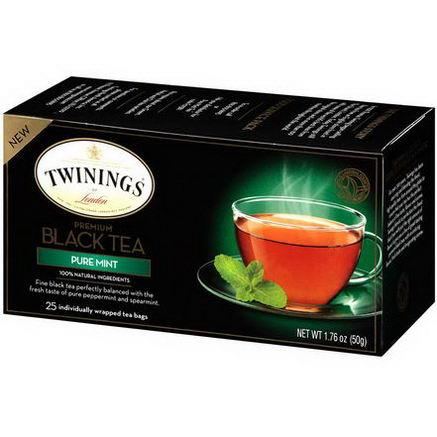 Twinings, Premium Black Tea, Pure Mint, 25 Tea Bags, 1.76oz (50g)