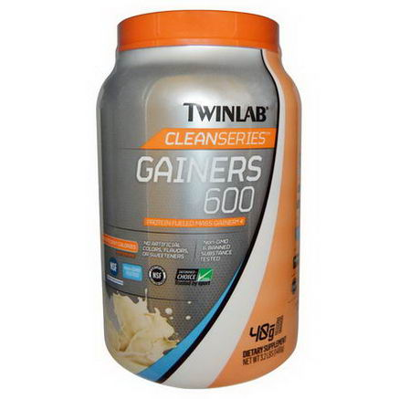 Twinlab, Clean Series Gainers 600, Protein Fueled Mass Gainer, French Vanilla, 3.2 lb (1460g)