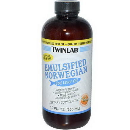 Twinlab, Emulsified Norwegian Cod Liver Oil, Orange, 12 fl oz (355 ml)