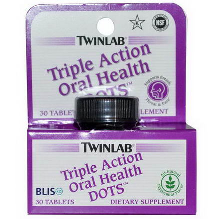 Twinlab, Triple Action Oral Health Dots, Peppermint Flavor, 30 Tablets