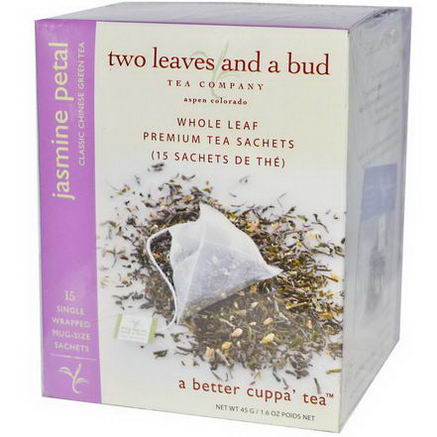 Two Leaves and a Bud, Jasmine Petal, Classic Chinese Green Tea, 15 Sachets, 1.6oz (45g)