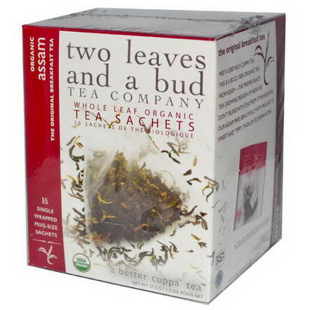 Two Leaves and a Bud, Organic Assam, The Original Breakfast Tea, 15 Sachets, 1.3oz (37.5g)