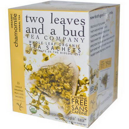 Two Leaves and a Bud, Organic Chamomile Herbal Tea, Caffeine Free, 15 Sachets, 0.79oz (22.5g)