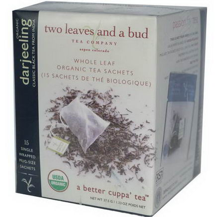 Two Leaves and a Bud, Organic Darjeeling, Classic Black Tea From India, 15 Sachets, 1.33oz (37.5g)