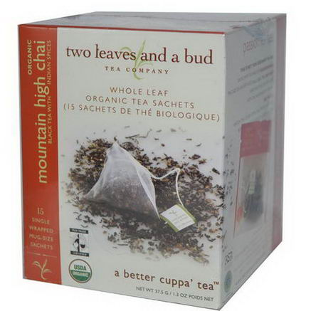 Two Leaves and a Bud, Organic Mountain High Chai, 15 Sachets, 1.3oz (37.5g)