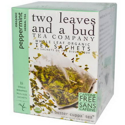 Two Leaves and a Bud, Organic Peppermint Herbal Tea, Caffeine Free, 15 Sachets, 0.79oz (22.5g)