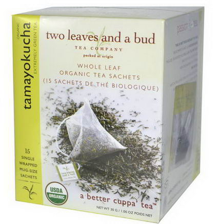 Two Leaves and a Bud, Organic Tamayokucha, Extremely Green Tea, 15 Sachets, 1.06oz (30g)