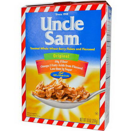 U. S Mills, Uncle Sam Cereal, Toasted Whole Wheat Berry Flakes and Flaxseed, Original, 10oz (284g)