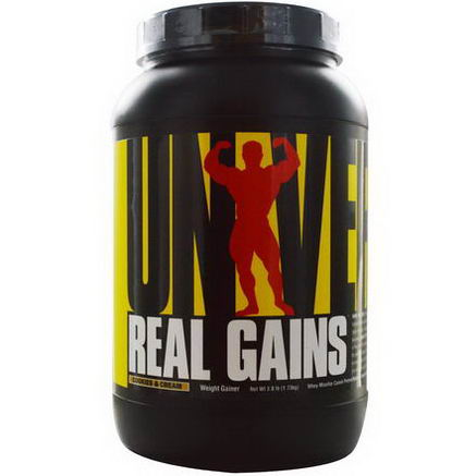 Universal Nutrition, Real Gains, Weight Gainer, Cookies & Cream, 3.8 lb (1.73 kg)