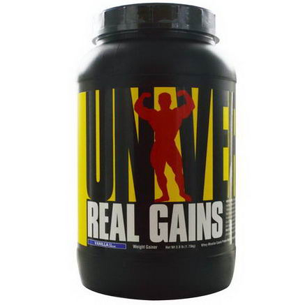 Universal Nutrition, Real Gains, Weight Gainer, Vanilla Ice Cream, 3.8 lb (1.73 kg)