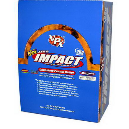 VPX Sports, Zero Impact, High Protein Meal Bar, Chocolate Peanut Butter, 12 Bars, 3.5oz (100g) Each