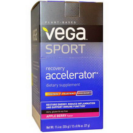 Vega, Sport, Recovery Accelerator, Apple Berry Flavor, 12 Packs, 0.96oz (27g) Each