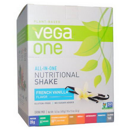 Vega, Vega One, All-in-One Nutritional Shake, French Vanilla, 10 Packets, 1.5oz (41g) Each