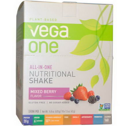Vega, Vega One, All-in-One Nutritional Shake, Mixed Berry Flavor, 10 Packets, 1.5oz (42g) Each