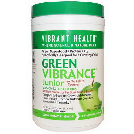 Vibrant Health, Green Vibrance Junior, For Toddlers + Tweens, Version 4.0, Apple-icious, 8.26oz (234.22g)