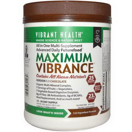 Vibrant Health, Maximum Vibrance, Version 1.1, Chocolate, 28.2oz (800g)