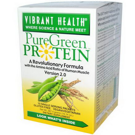 Vibrant Health, PureGreen Protein, Version 2.0, 10 Single Serving Packets, 28.74g Each
