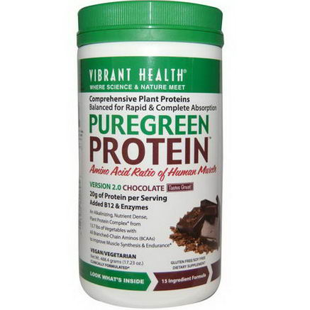 Vibrant Health, PureGreen Protein, Version 2.0, Chocolate, 17.23oz (488.4g)