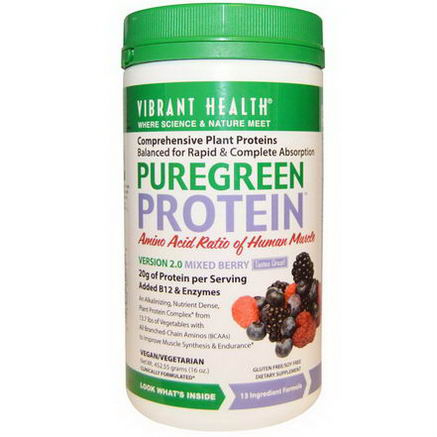 Vibrant Health, PureGreen Protein, Version 2.0, Mixed Berry, 16oz (452.55g)