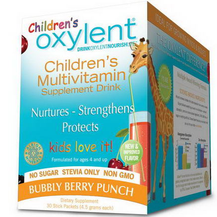 Vitalah, Children's Oxylent, Multivitamin Supplement Drink, Bubbly Berry Punch, 30 Stick Packets, 4.5g Each