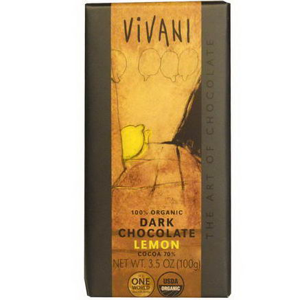 Vivani, 100% Organic Dark Chocolate, Lemon, 3.5oz (100g)