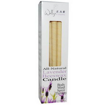 Wally's Natural Products, All-Natural Lavender Beeswax Candle, 12 Candles