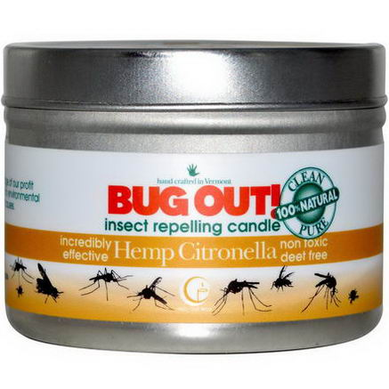 Way Out Wax, Bug Out! Insect Repelling Candle, Hemp Citronella, 3oz (85g)