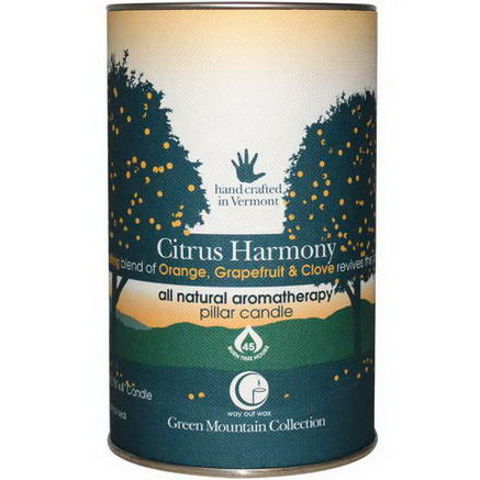 Way Out Wax, Green Mountain Collection, Pillar Candle, Citrus Harmony, 2.75