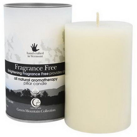 Way Out Wax, Green Mountain Collection, Pillar Candle, Fragrance Free, One 2.75