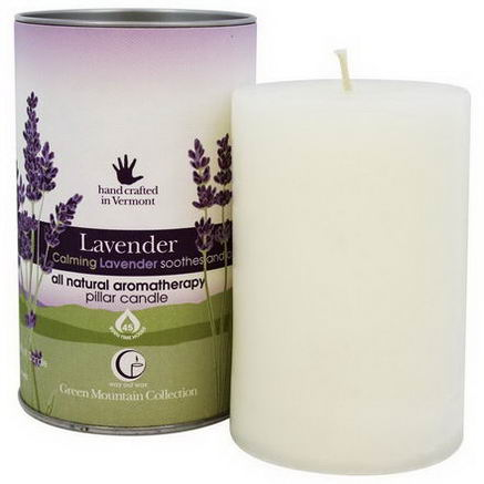 Way Out Wax, Green Mountain Collection, Pillar Candle, Lavender, One 2.75