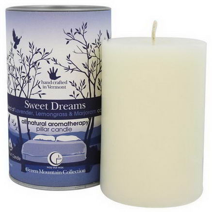 Way Out Wax, Green Mountain Collection, Pillar Candle, Sweet Dreams, 2.75