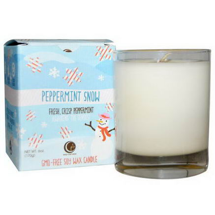 Way Out Wax, Holiday Glass Tumbler Candle, Peppermint Snow, 1 Candle, 6oz (170g)