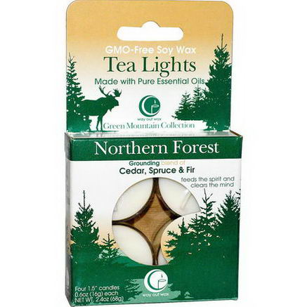 Way Out Wax, Tea Lights, Northern Forest, 4 Candles, 0.6oz (16g) Each
