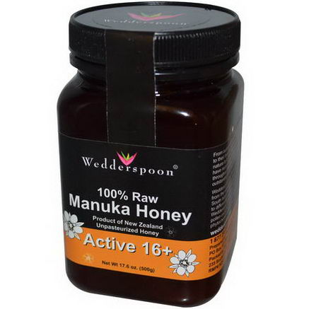 Wedderspoon Organic, Inc. 100% Raw Manuka Honey, Active 16+, 17.6oz (500g)