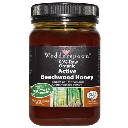 Wedderspoon Organic, Inc. Active Beechwood Honey, 100% Raw, Organic, 17.6oz (500g)