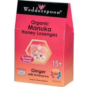 Wedderspoon Organic, Inc. Organic Manuka Honey Lozenges, Ginger with Echinacea, 4oz