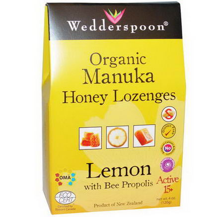 Wedderspoon Organic, Inc. Organic Manuka Honey Lozenges, Lemon, 4oz (120g)