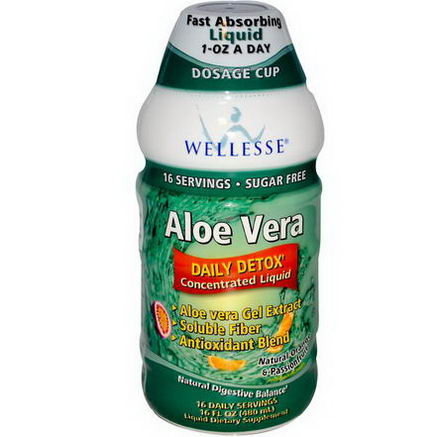 Wellesse Premium Liquid Supplements, Aloe Vera, Sugar Free, Natural Orange & Passionfruit, 16 fl oz (480 ml)