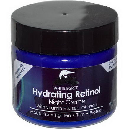 White Egret Personal Care, Hydrating Retinol Night Cream, 2 fl oz (59 ml)