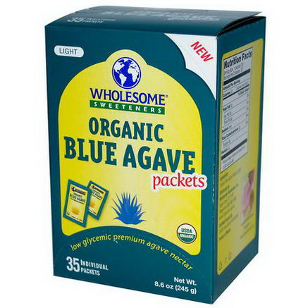 Wholesome Sweeteners, Inc. Organic Light Blue Agave Packets, 35 Packets, 7g Each