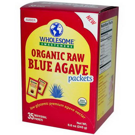 Wholesome Sweeteners, Inc. Organic Raw Blue Agave Packets, 35 Packets, 7g Each