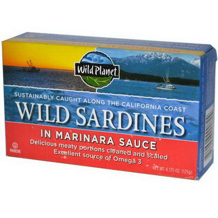 Wild Planet, Wild Sardines In Marinara Sauce, 4.375oz (125g)