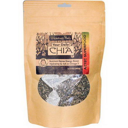 Wilderness Poets, Raw Chia Seeds, Black, 8oz (226.8g)