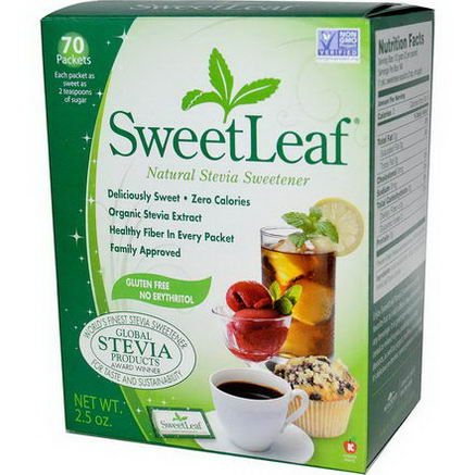 Wisdom Natural, SweetLeaf, Natural Stevia Sweetner, 2.5oz (70 Packets)