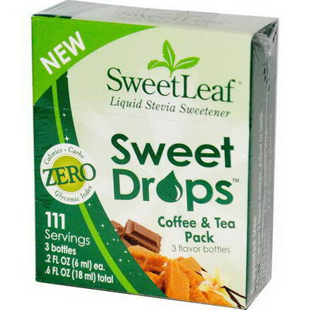 Wisdom Natural, SweetLeaf, Sweet Drops Coffee & Tea Pack, 3 Flavor Bottles, 2 fl oz (6 ml) Each