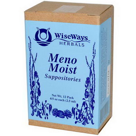 WiseWays Herbals, LLC, Meno Moist Suppositories, 12 Pack, 4.5oz (2.5 ml) Each